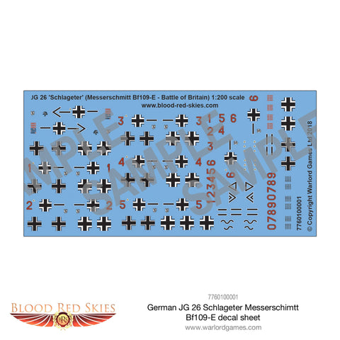 German JG-26 Schlageter Messerschimtt Bf109-E decal sheet