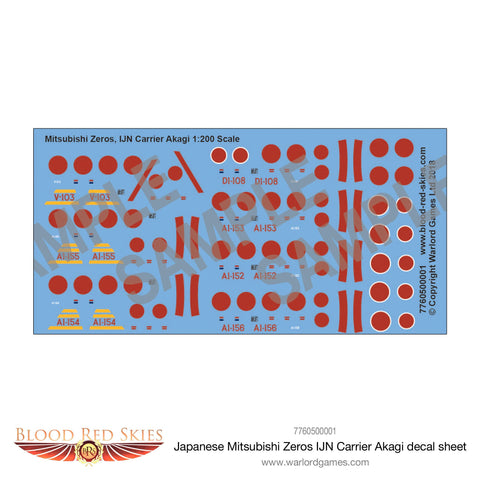 Japanese Mitsubishi Zeros IJN Carrier Akagi decal sheet
