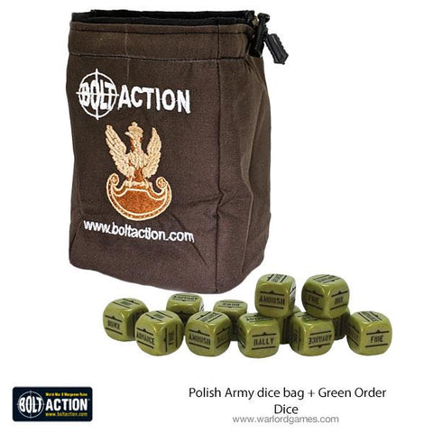 Polish Army dice bag & dice