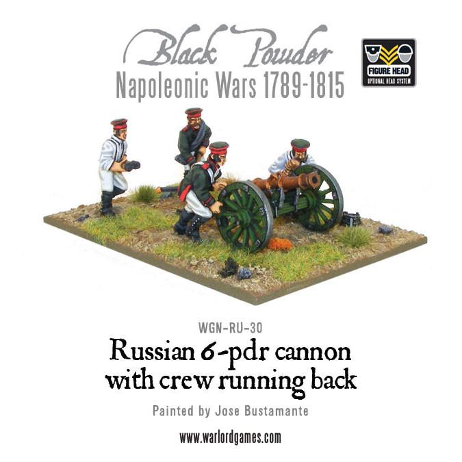 Napoleonic Russian 6 pdr cannon 1809-1815 with crew running back
