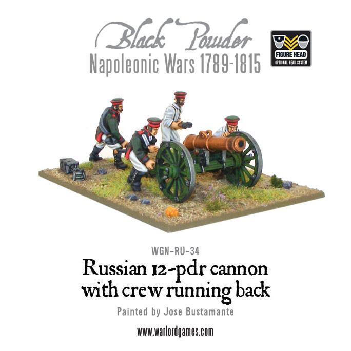 Napoleonic Russian 12 pdr cannon 1809-1815 with crew running back