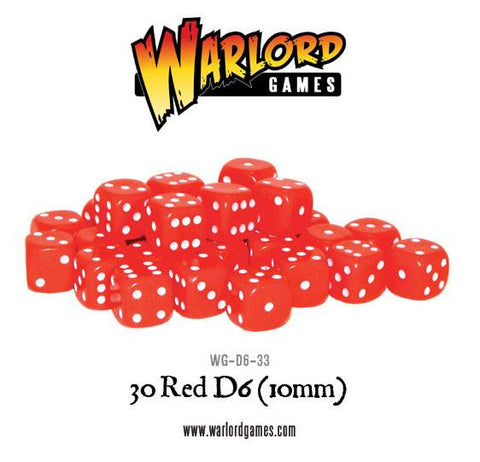30 Red D6 (10mm)