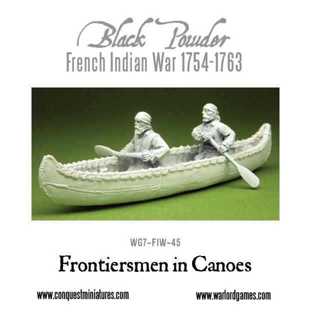 French-Indian War Frontiersmen in Canoe