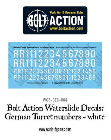 Bolt Action German Turret Numbers - white decal sheet