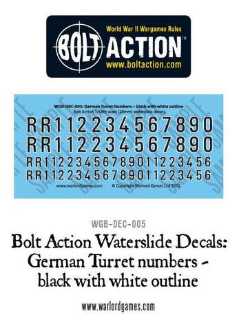 Bolt Action German Turret numbers - black with white outline decal sheet