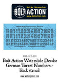 Bolt Action German Turret Numbers - black stencil decal sheet