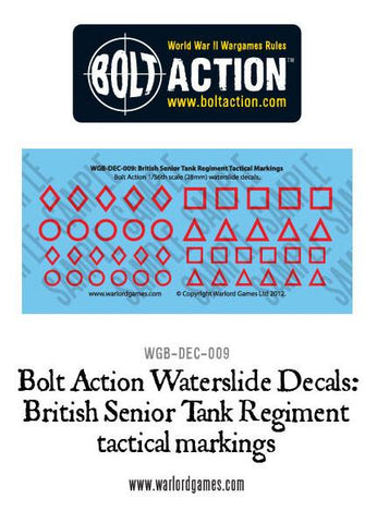 Bolt Action British Senior Tank Regiment tactical markings decal sheet