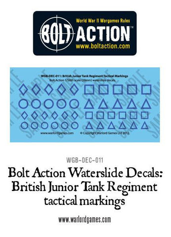 Bolt Action  British Junior Tank Regiment tactical markings  decal sheet