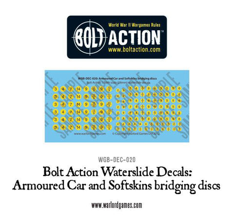 Armoured Car and Softskin bridging discs decal sheet
