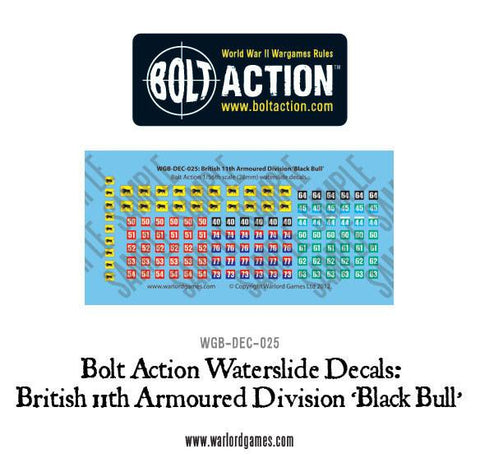 British 11th Armoured Division (Black Bull) decal sheet