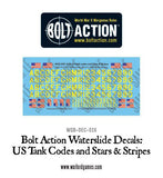 US tank codes and Stars & Stripes decal sheet