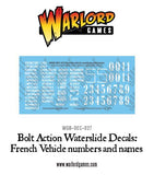 French vehicle numbers and names decal sheet