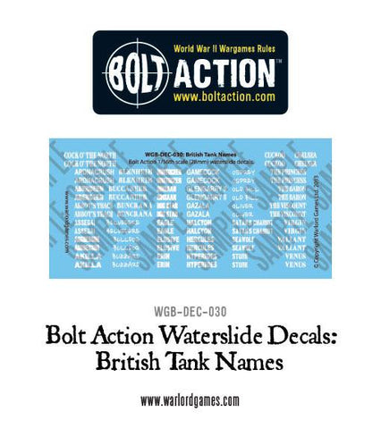 Bolt Action British Tank names decals