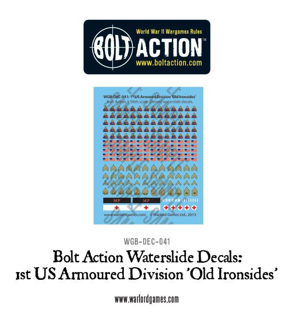 1st US Armoured Division 'Old Ironsides' decals