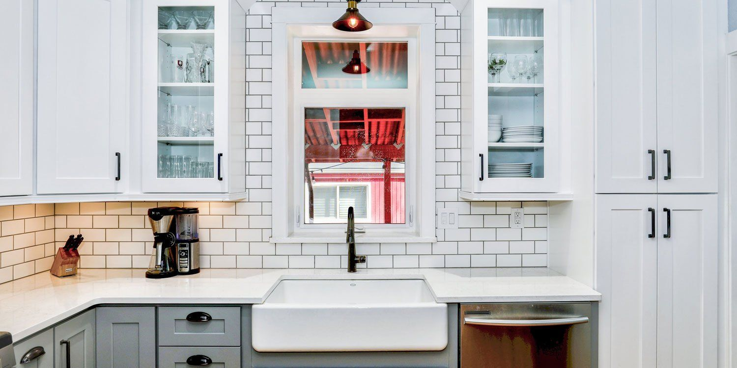 Kitchen With While Tiles