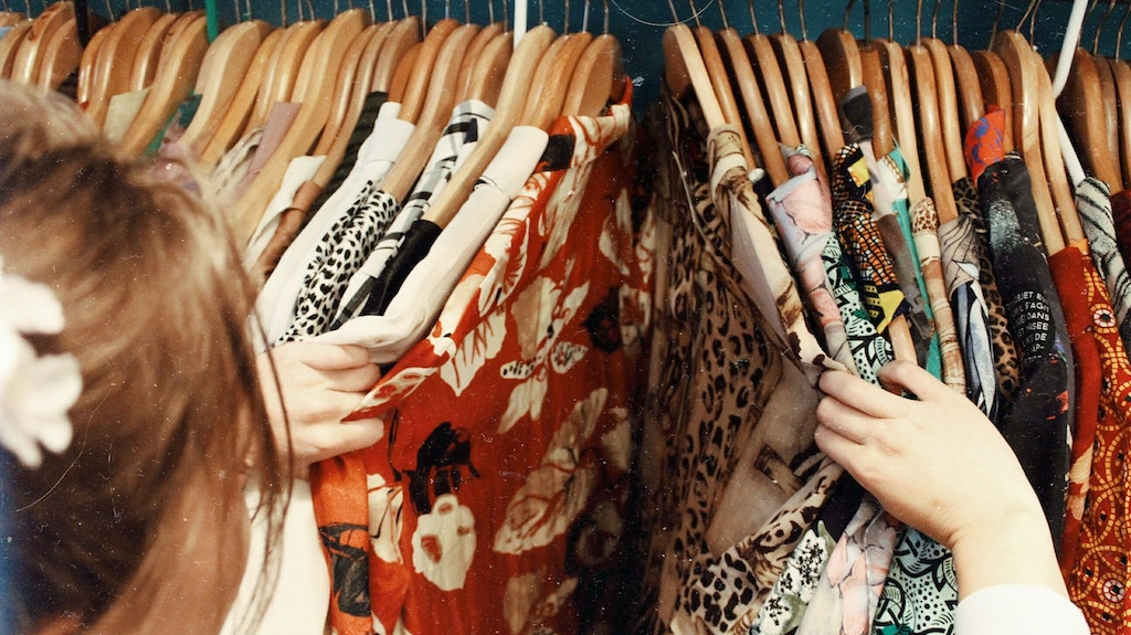 Clothing on a rack at Thift Store