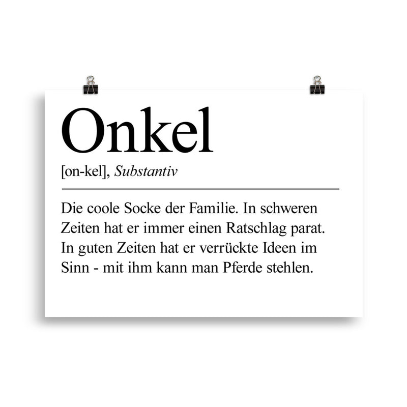 Onkel Definition Poster Minimalistisch - Paparadies