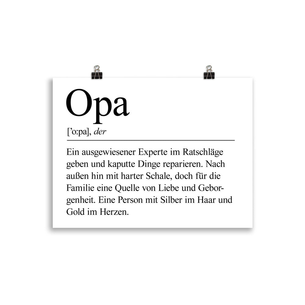 Opa Definition Poster Minimalistisch - Paparadies