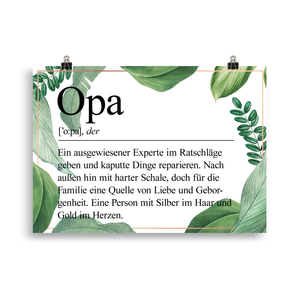 Opa Definition Poster Blätter - Paparadies