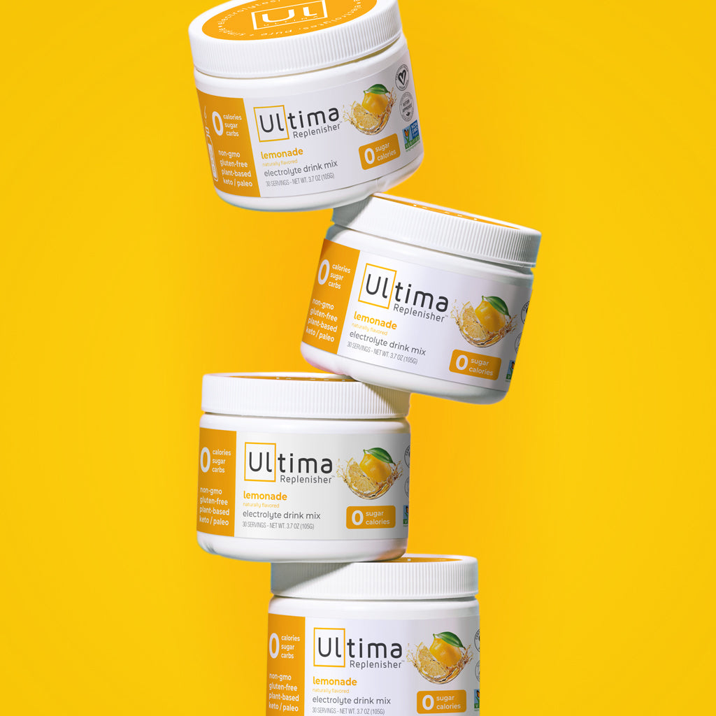 Ultima Replenisher Electrolyte Hydration Drink Powder Lemonade Tastes like sunshine and summertime. Delicious, clean hydration to keep you going.