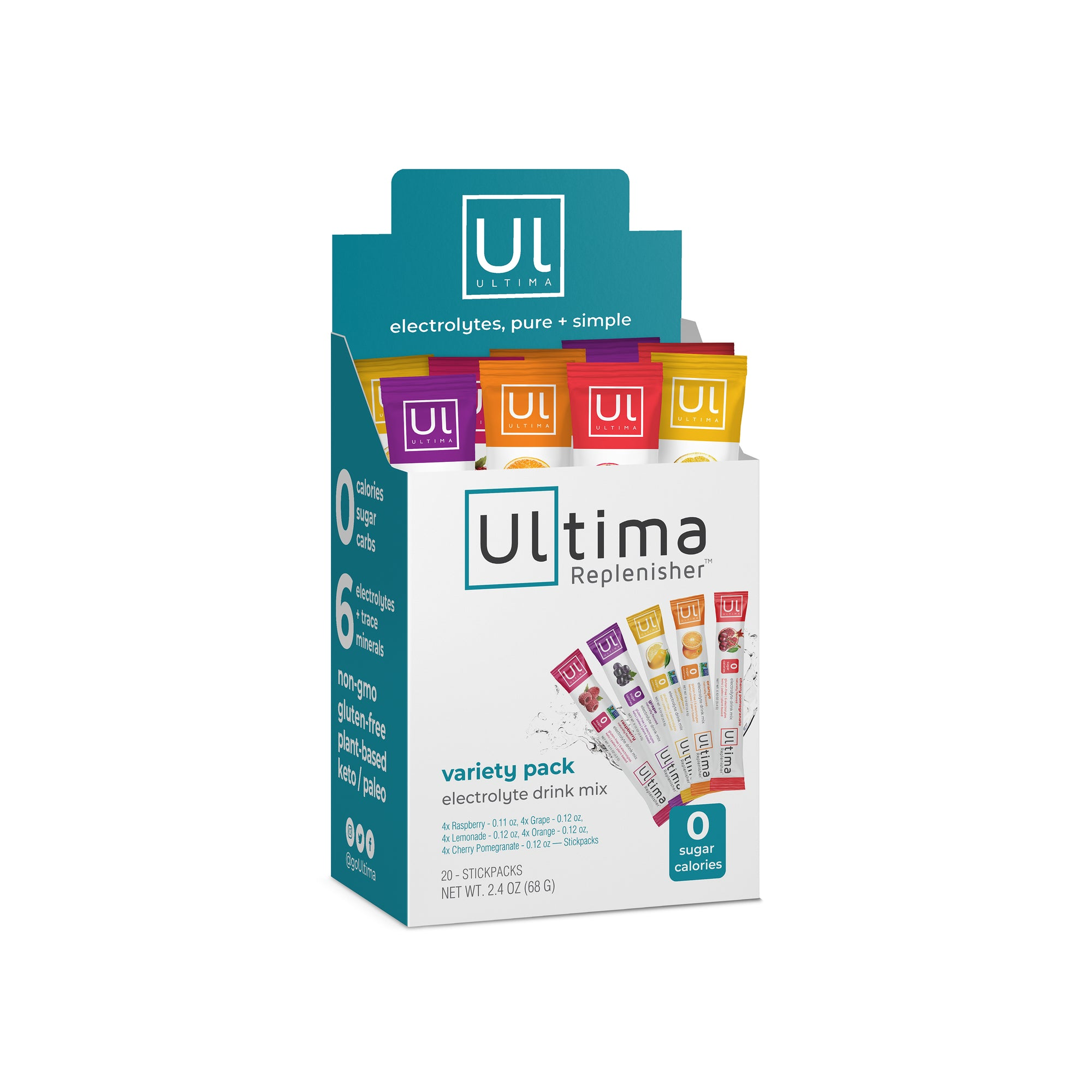 Ultima Replenisher Electrolyte Hudration Powder 20 Count Stickpacks Variety 5 Flavors