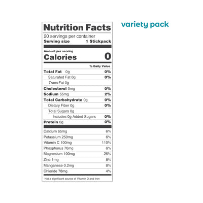 Ultima Replenisher Electrolyte Hydration 20 Count Stickpacks Variety Nutrition Statement