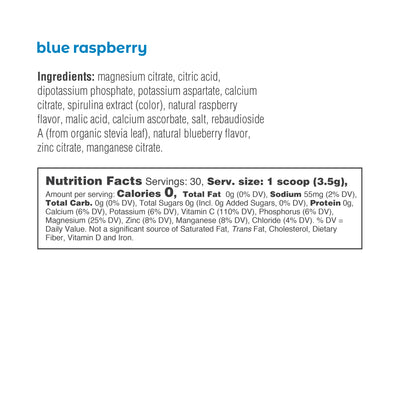 Ultima Replenisher Electrolyte Hydration Powder 30 Serving Canister Blue Raspberry Ingredients Nutrition Statement