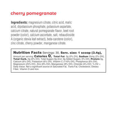 Ultima Replenisher Electrolyte Hydration Powder 30 Serving Canister Cherry Pomegranate Ingredients Nutrition Statement