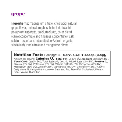 Ultima Replenisher Electrolyte Hydration Powder 30 Serving Canister Grape Ingredients Nutrition Statement
