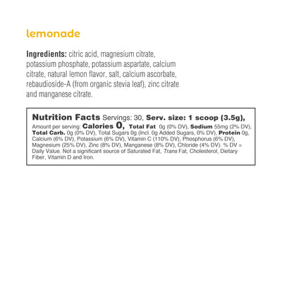 Ultima Replenisher Electrolyte Hydration 30 Serving Canister Lemonade Ingredients Nutrition Statement