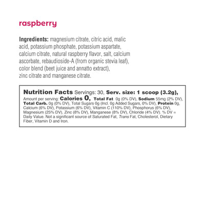Ultima Replenisher Electrolyte Hydration Powder 30 Serving Canister Raspberry Ingredients Nutrition Label