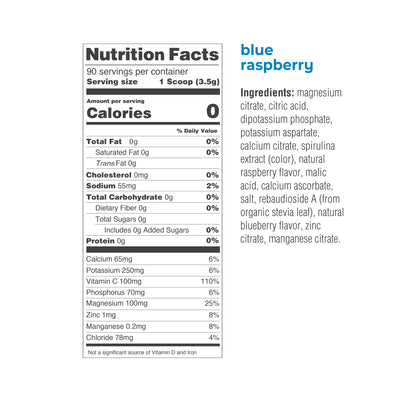 Ultima Replenisher Electrolyte Hydration Powder 90 Serving Canister Blue Raspberry Ingredients Nutrition Statement