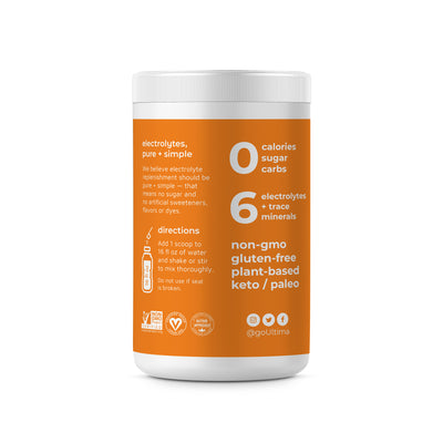 Ultima Replenisher Electrolyte Hydration Powder 90 Serving Canister Orange