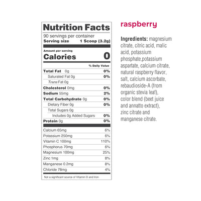 Ultima Replenisher Electrolyte Hydration Powder 90 Serving Canister Raspberry Ingredients Nutrition Statement