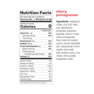 Ultima Replenisher Electrolyte Hydration Powder - Cherry Pomegranate - 20 Serving Stickpacks