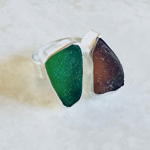Glass and silver ring - NZ made jewellery