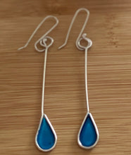 Load image into Gallery viewer, Sterling Silver Drop Earrings - Blue