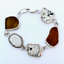 Load image into Gallery viewer, Brown glass, stone and china bracelet