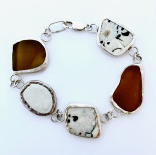 Brown glass, stone and china bracelet