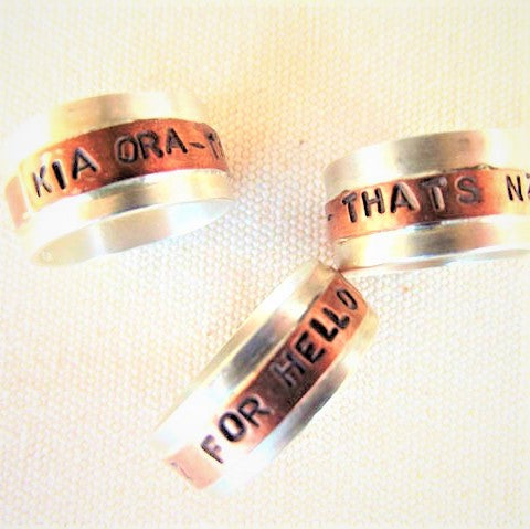 Kia ora - Silver and copper Rings