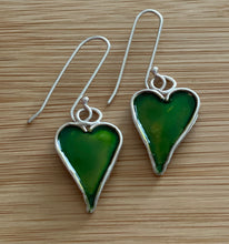 Load image into Gallery viewer, Sparkly heart silver earrings