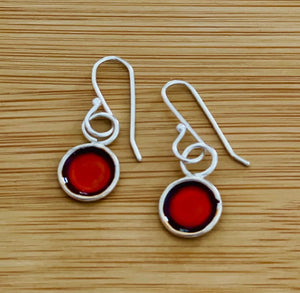 Circle silver and paint earrings - Silver jewellery
