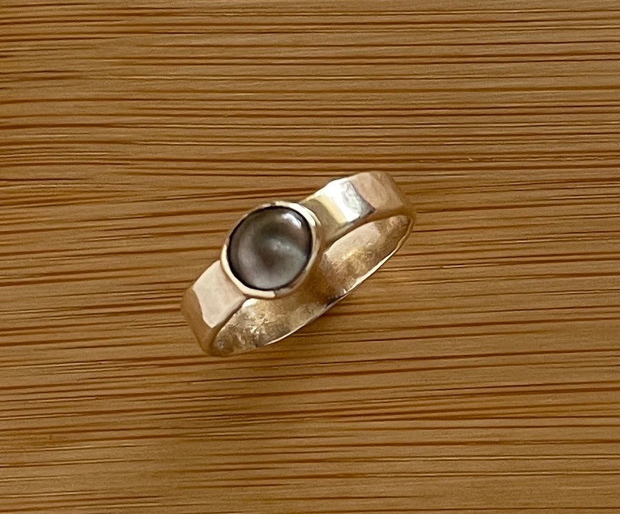 Gold and periwinkle ring