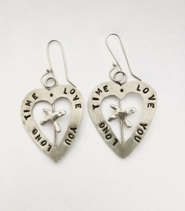 Love You Long Time, sterling silver earrings