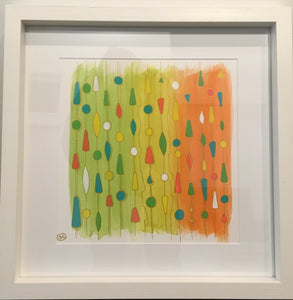 Abstract acrylic painting, framed