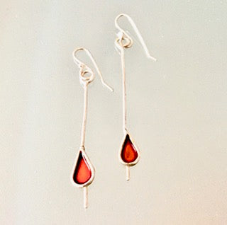 Sterling silver Drop earrings - Red