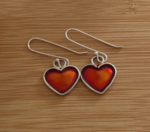Sparkly heart silver earrings
