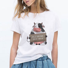 Load image into Gallery viewer, LUCKYROLL NOT YOUR MOM NOT YOUR MILK Dairy Cattle Print T Shirts Women Vegan Shirt Clothing Casual Tops O Neck Tees Plus Size