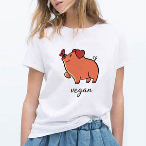 LUCKYROLL NOT YOUR MOM NOT YOUR MILK Dairy Cattle Print T Shirts Women Vegan Shirt Clothing Casual Tops O Neck Tees Plus Size