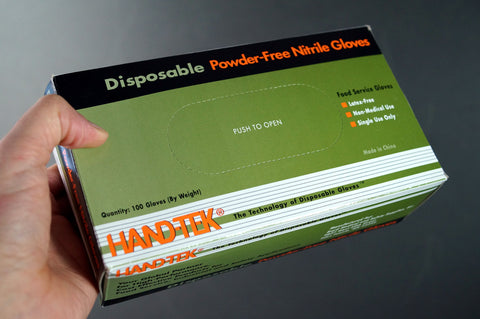 Find Box Blue HAND-TEK Non-Medical Use Disposable brand gloves
